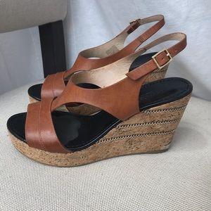 Jimmy Choo Camel Wedge Sandals